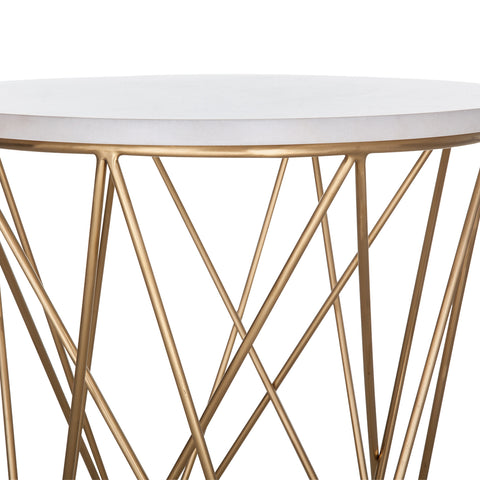 Spotlight Side Table In White/Matte Gold