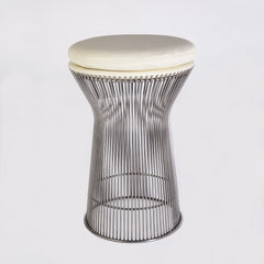 Warren Platner Style Leather Stool in White and Chrome