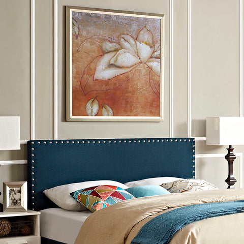 Phoebe Queen Upholstered Fabric Headboard in Azure