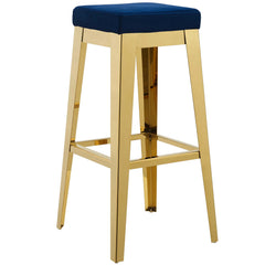 Arrive Gold Stainless Steel Upholstered Velvet Bar Stool in Gold and Navy
