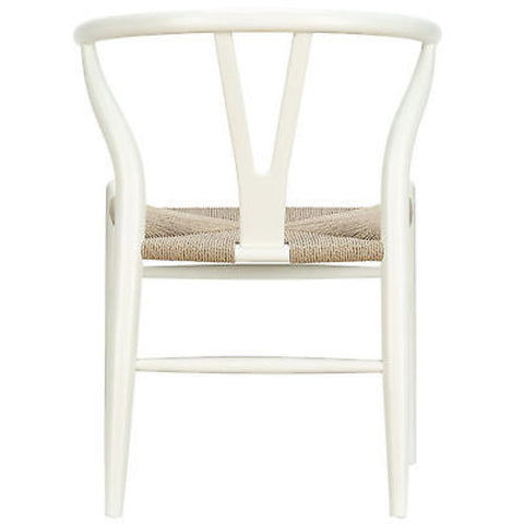 Hans Wegner Wishbone Style Solid Wood Chair in White