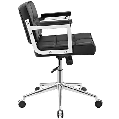 Portray Mid Back Upholstered Vinyl Office Chair in Black