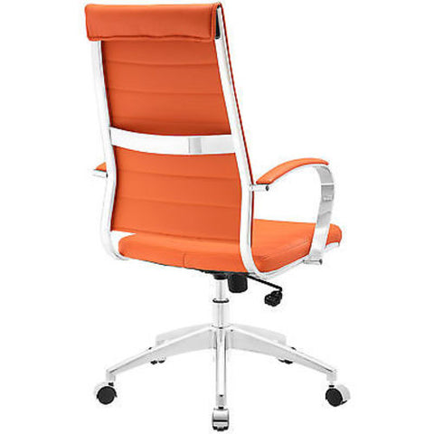 Adjustable Modern Chromed Highback Office Chair in Orange - Mid Mod Finds