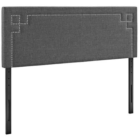 Josie Queen Upholstered Fabric Headboard in Gray