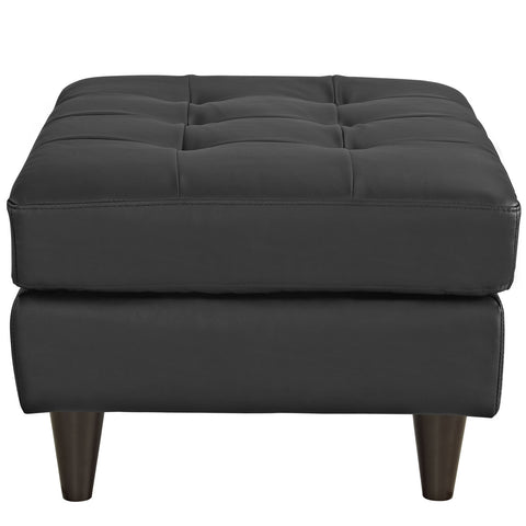 Empress Leather Ottoman in Black