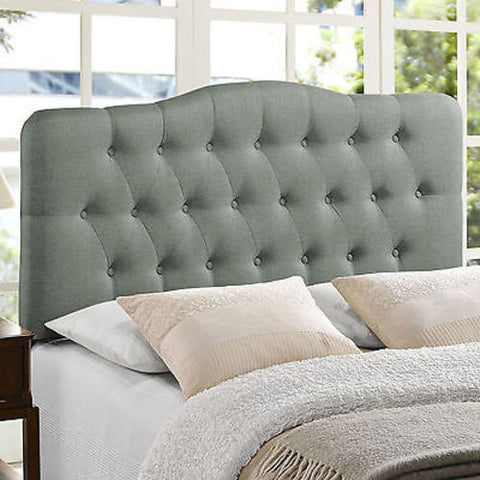 Annabel Queen Fabric Headboard in Gray