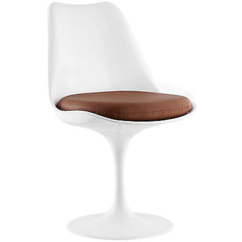 Eero Saarinen Tulip Style Dining Vinyl Side Chair in Tan