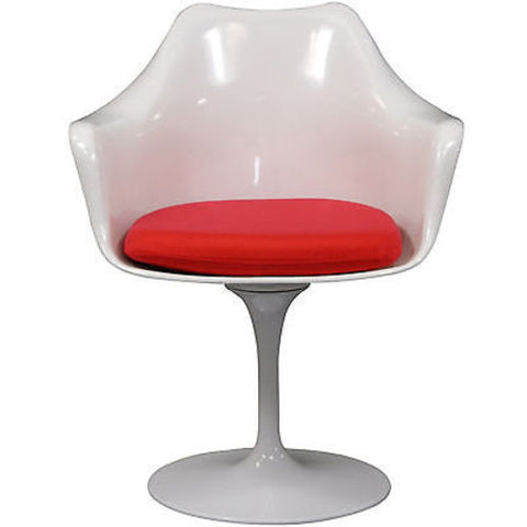 Saarinen Tulip Style Armchair with Red Cushion