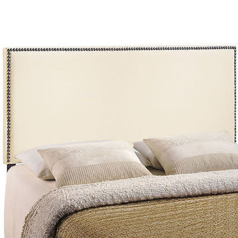 Region King Nailhead Upholstered Headboard in Ivory
