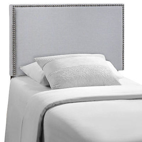 Region Twin Nailhead Upholstered Headboard in Gray