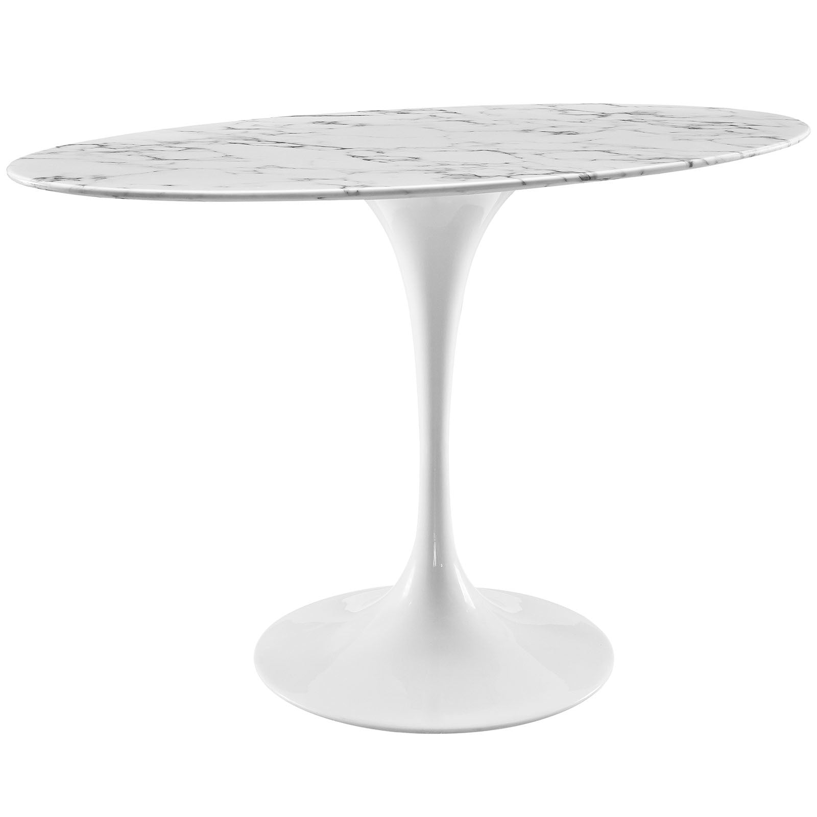 Saarinen Tulip Style OvalShaped Artificial Marble Dining Table - White tulip table 48