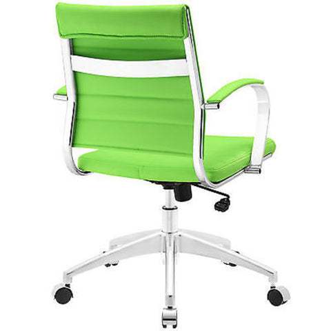 Adjustable Modern Chromed Mid Back Office Chair in Bright Green