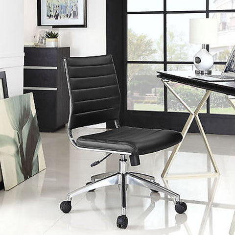 Adjustable Modern Chromed Armless Mid Back Office Chair in Black