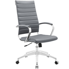 Adjustable Modern Chromed Highback Office Chair in Gray