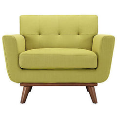 Engage Upholstered Armchair in Wheatgrass - Mid Mod Finds
