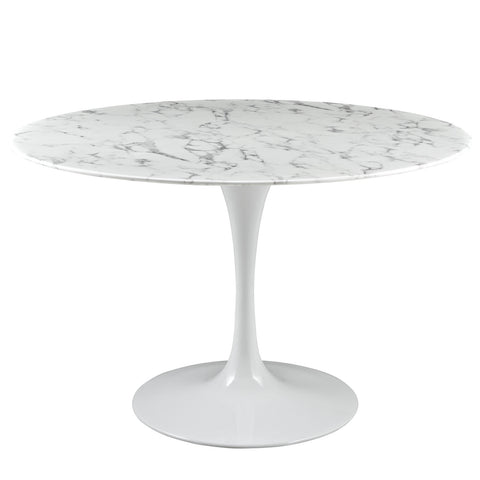 "Saarinen Tulip Style 47"" Cultured Marble Dining Table in White"