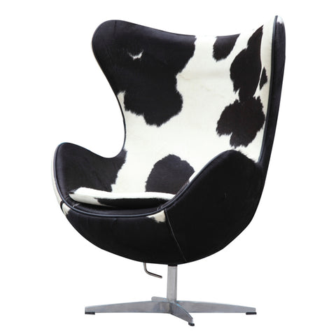 Pony Hide Egg Chair, Black and White
