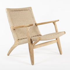 Hans Wegner Style Easy Chair in Natural - Mid Mod Finds