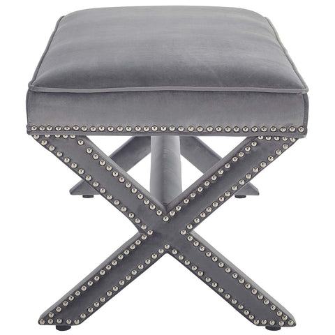 Rivet Upholstered Velvet Bench in Gray