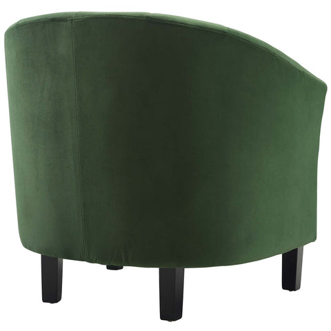 Prospect Channel Tufted Upholstered Velvet Armchair in Emerald
