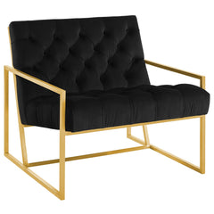Bequest Gold Stainless Steel Upholstered Velvet Accent Chair in Black