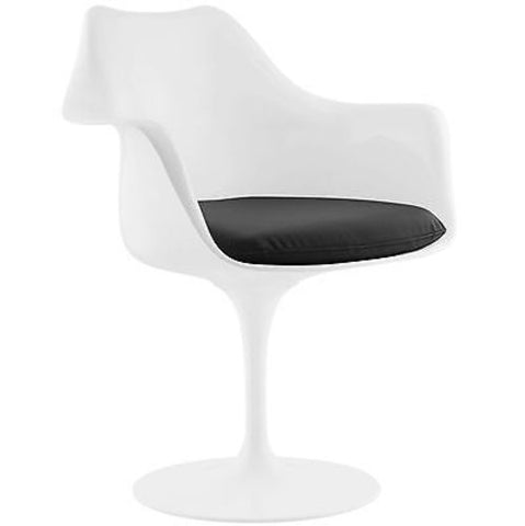 Eero Saarinen Tulip Style Dining Vinyl Armchair in Black