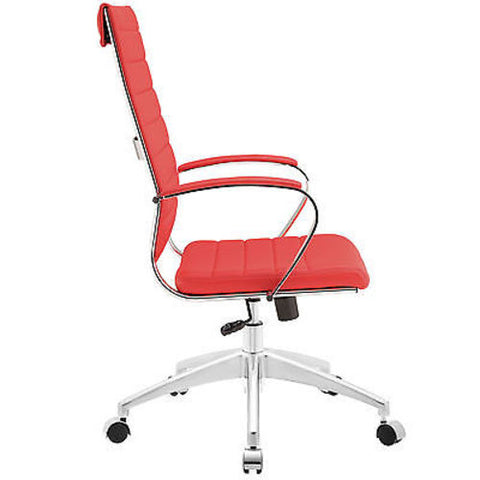 Adjustable Modern Chromed Highback Office Chair in Red