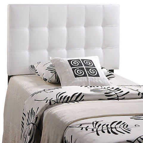 Lily Twin Vinyl Headboard in White