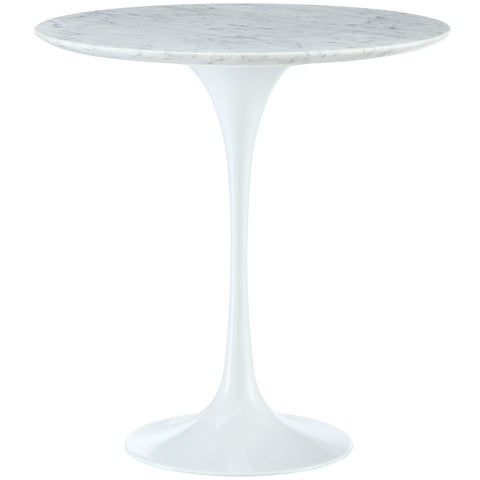 "Saarinen Tulip Style 20"" Marble Side Table in White"