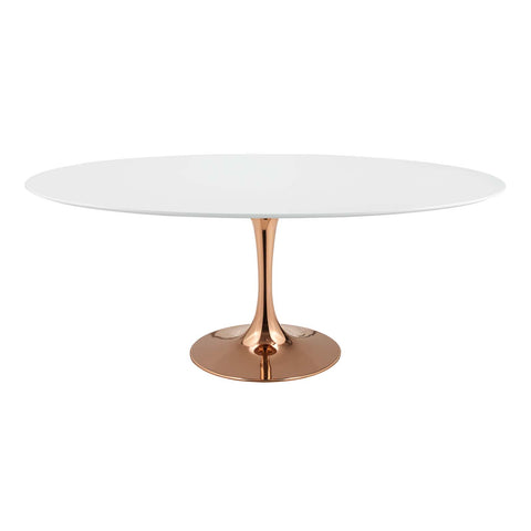 "Lippa 78"" Oval Dining Table in Rose and White"