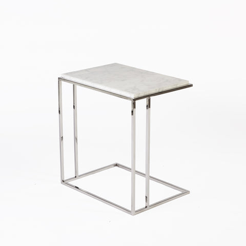 Faas End Table In White/Chrome