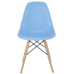 Midcentury Modern Style Molded Plastic Shell Dowel-Leg Side Chair in Light Blue