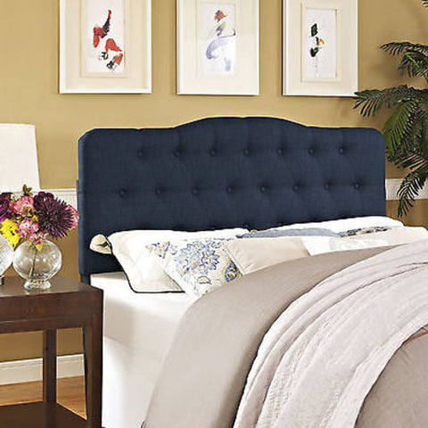 Annabel King Fabric Headboard in Navy - Mid Mod Finds