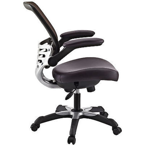 Edge Mesh Back Office Chair with Brown Leatherette Seat