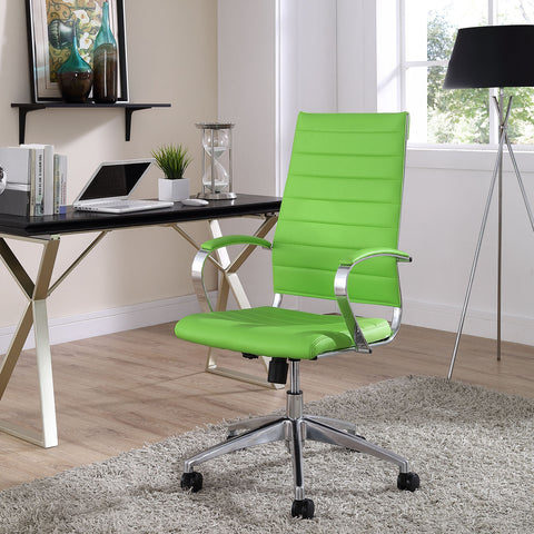Adjustable Modern Chromed Highback Office Chair in Bright Green