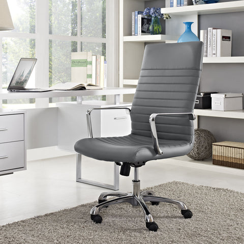 Modern Ribbed Adjustable Highback Office Chair in Gray