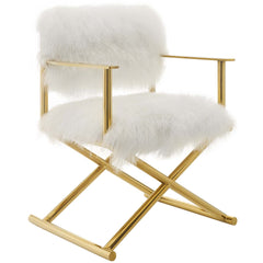 Action Pure White Cashmere Accent Director's Chair in Gold and White