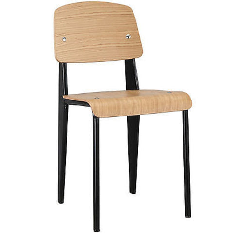 Jean Prouve Style Standard Dining Side Chair in Natural Black