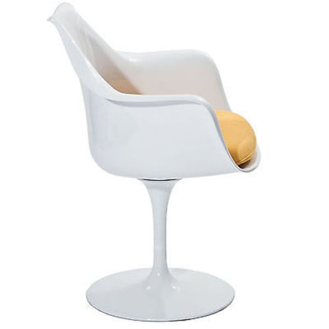 Saarinen Tulip Style Armchair with Yellow Cushion