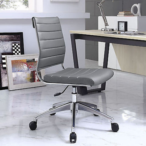 Adjustable Modern Chromed Armless Mid Back Office Chair in Gray
