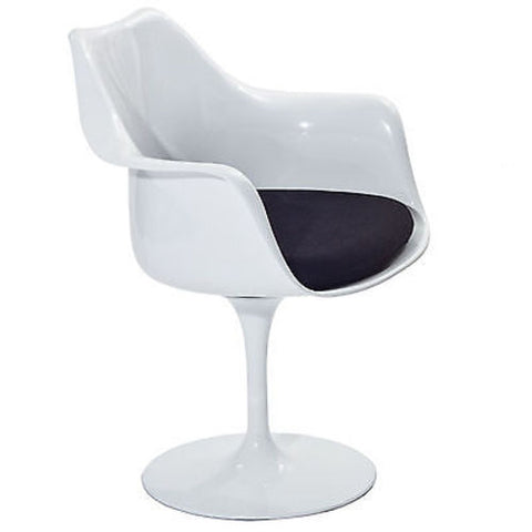 Saarinen Tulip Style Armchair with Black Cushion