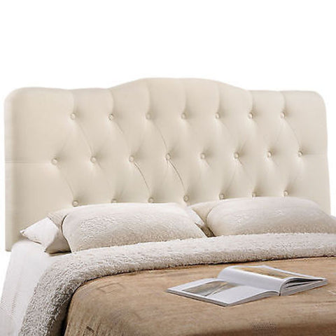 Annabel Queen Fabric Headboard in Ivory - Mid Mod Finds