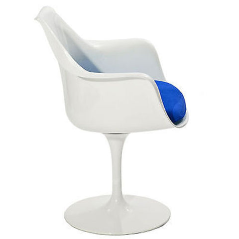 Saarinen Tulip Style Armchair with Blue Cushion