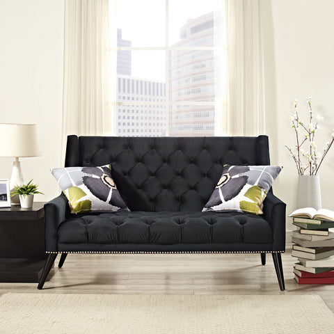 Peruse Velvet Loveseat in Black