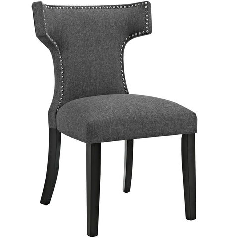 Curve Fabric Dining Chair in Gray