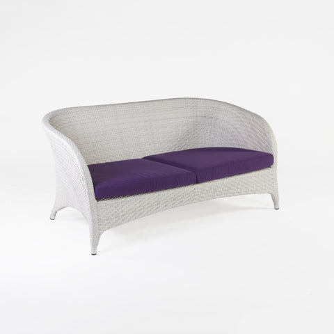 Danica Outdoor 2 Seat Sofa With Sunbrella Brand Cushion In White/Purple