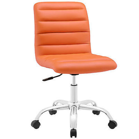 Adjustable Modern Ribbed Mid Back Office Chair in Orange