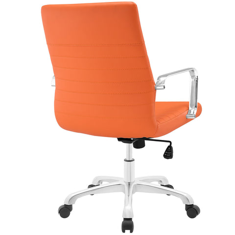 Modern Ribbed Adjustable Mid Back Office Chair in Orange