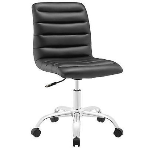 Adjustable Modern Ribbed Mid Back Office Chair in Black
