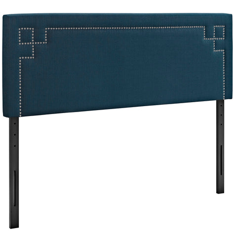 Josie King Upholstered Fabric Headboard in Azure - Mid Mod Finds